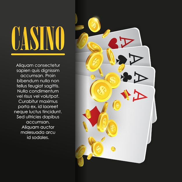 Casino poster or banner background or flyer template. Premium Vector