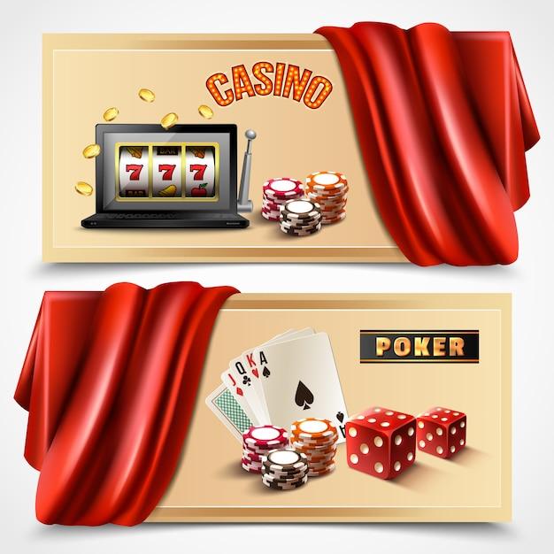 Casino realistic banner set Free Vector