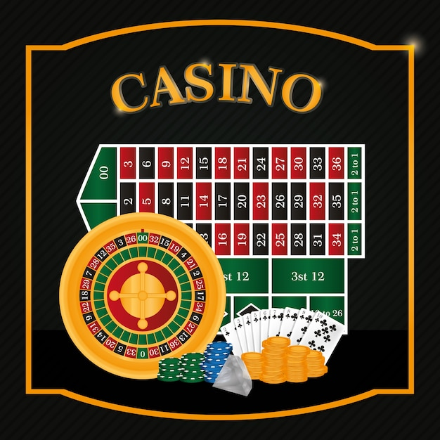 Casino roulette ans table with cards vector illustration graphic design Premium Vector
