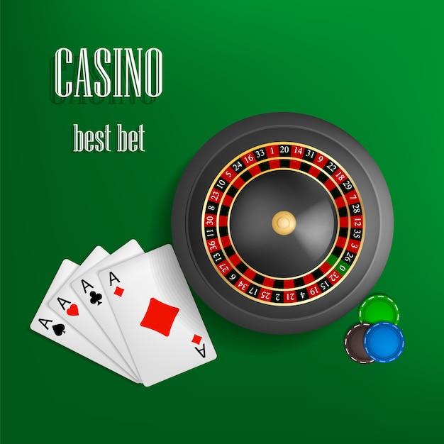 Casino Roulette Best Bet Concept Realistic Style Premium Vector