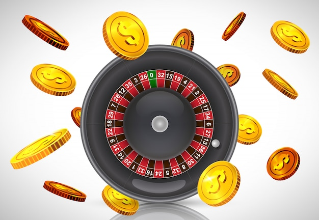 Casino roulette and flying golden coins. casino business advertising Free Vector