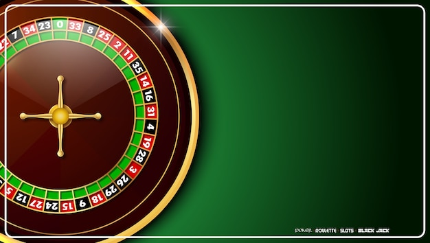 Casino roulette wheel on green casino table Premium Vector