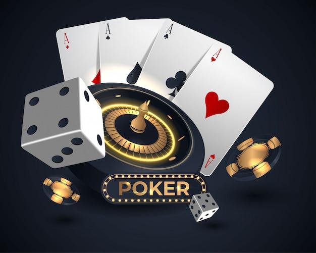 Premium Vector | Casino roulette wheel and poker cards