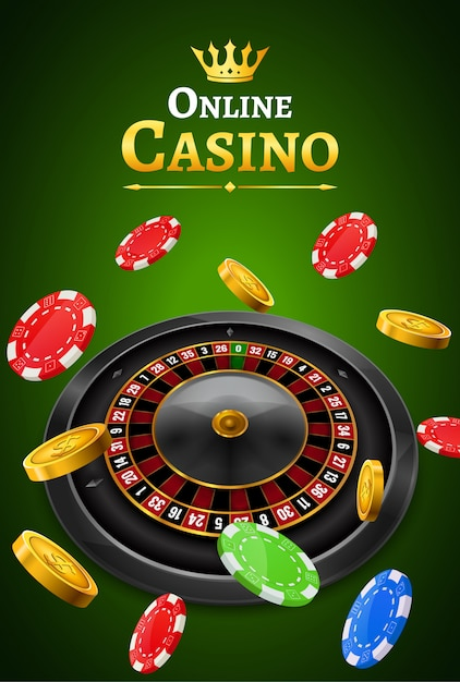 Casino Roulette With Chips Coins And Red Dice Realistic Gambling Poster Banner Casino Vegas Fortune Roulette Wheel Design Flyer Premium Vector