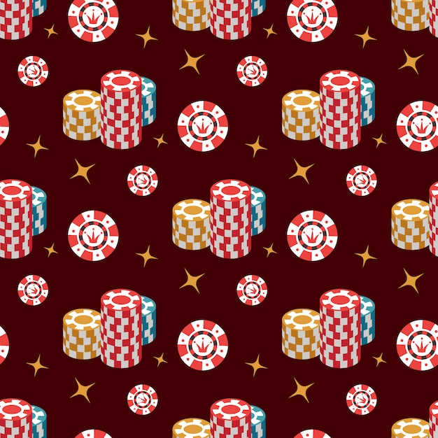 Casino seamless pattern with chip and stars Premium Vector