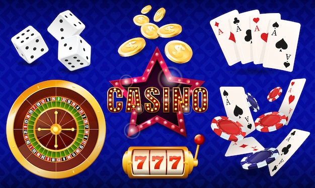 Casino, set of illustrations, dice, cards, casino chips, roulette, slot machine. Premium Vector
