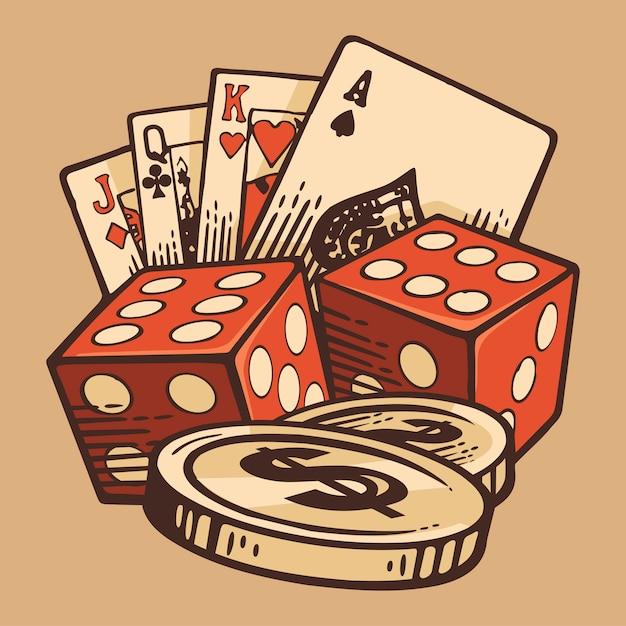 Casino set vintage handmade symbols. retro design. Premium Vector