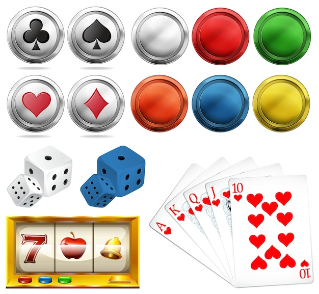 Casino set with tokens and cards Free Vector