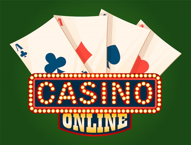 Casino shiny board and deck of ace cards Premium Vector
