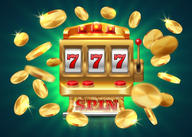 Premium Vector | Casino slot machine. 777 jackpot, winning game lottery ,  flying golden coins. golden machine