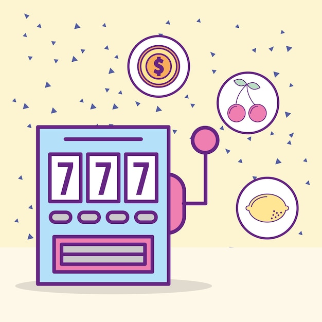 Casino slot machine jackpot leisure luck game Vector