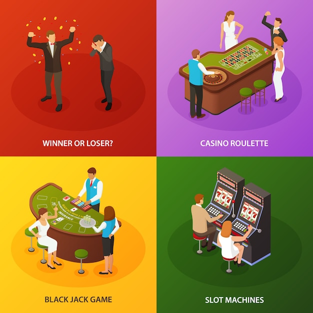 Casino slot machines roulette black jack game compositions set Free Vector