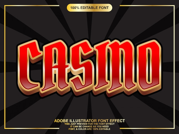 Casino text with gold outline editable typography font effect Premium Vector