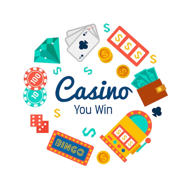Casino wallpaper with poker elements Free Vector