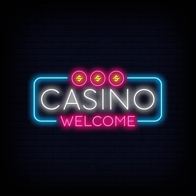 Casino welcome neon sign signboard effect Premium Vector