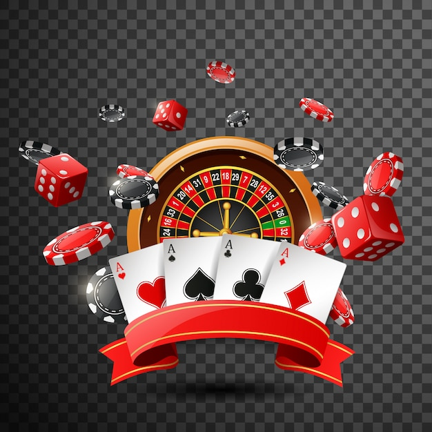 Casino  with red ribbon on isolated transparent background. Premium Vector