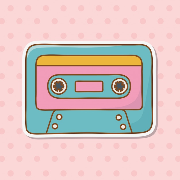 Cassette icon cartoon Premium Vector