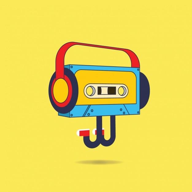 Cassette illustration background Free Vector