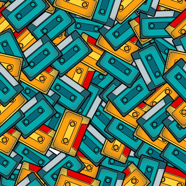 Cassette pop art seamless pattern Premium Vector