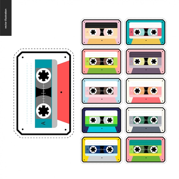 Cassette tapes patches flat set Premium Vector