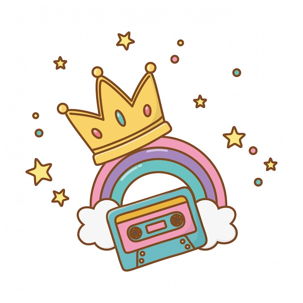 Cassette with crown and rainbow Premium Vector