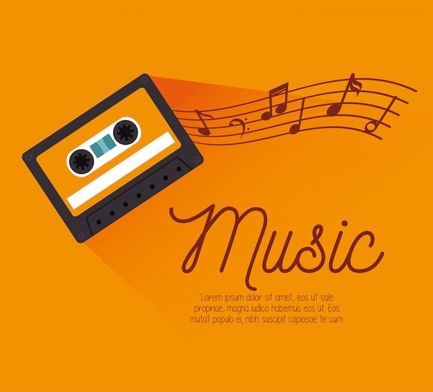 Cassetta con modello di note musicali Vettore gratuito