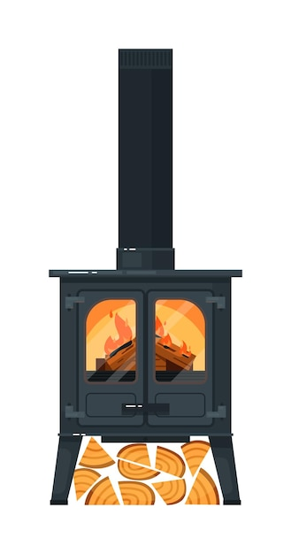 Cast iron mantel with burning firewood and chimney isolated Premium Vector
