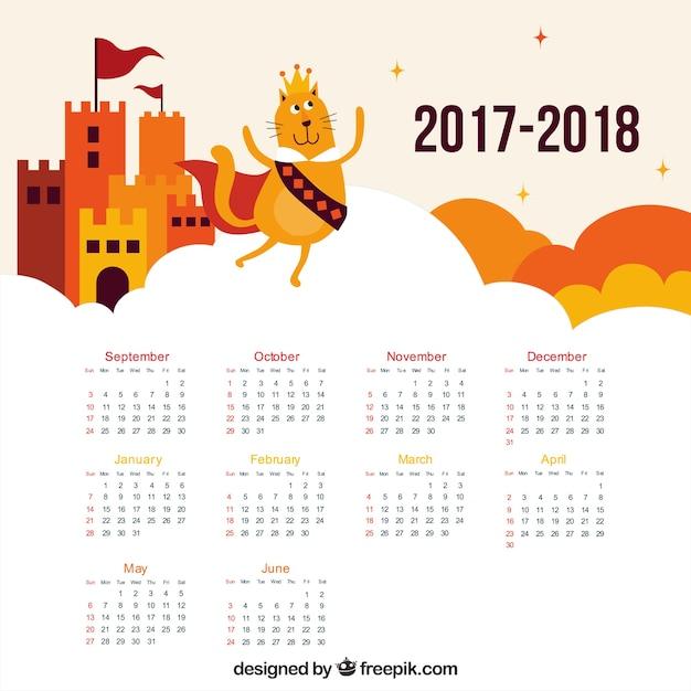 Castle and cat school calendar