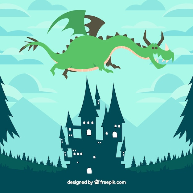 Castle and flying dragon with lovely\ style
