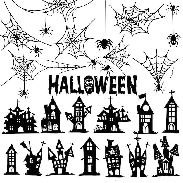 Замок и паутина хэллоуин. дом и паутина иллюстрации tempalate. векторный дизайн Premium векторы