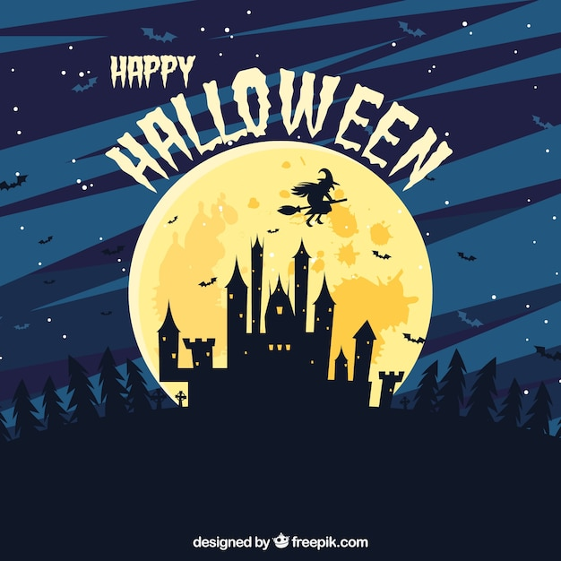Castle background with moon and a flying witch Free Vector