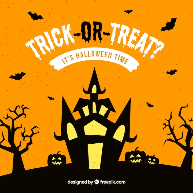 Castle background with phrase trick or treat