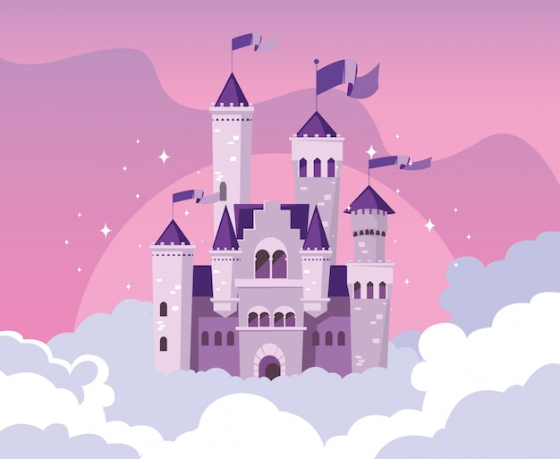 Castle building fairytale in the sky with clouds Premium Vector