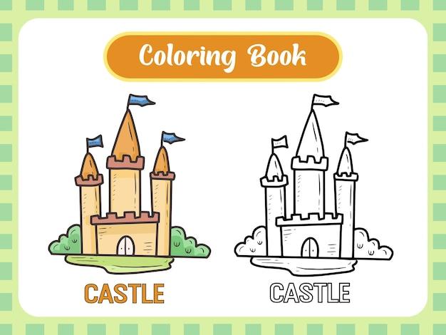 Раскраска замок для детей Premium векторы