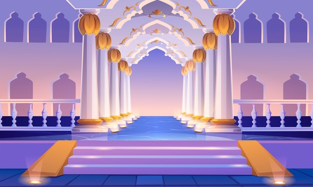 Castle corridor with staircase, columns and arches Free Vector
