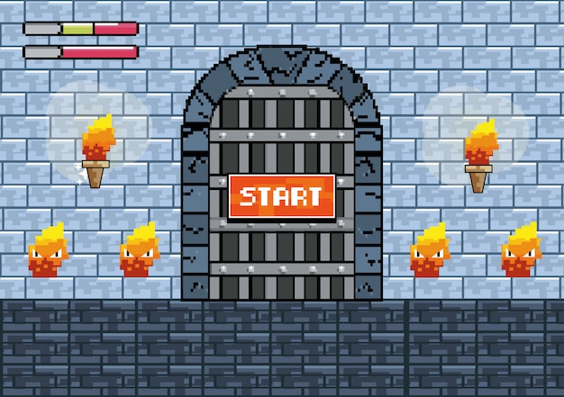 Castle door with torches and fire characters Free Vector