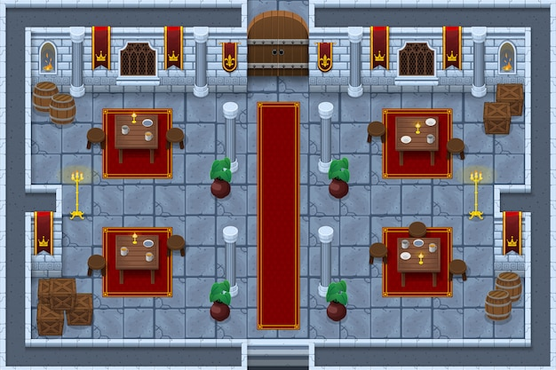 Castle game tileset Premium Vector