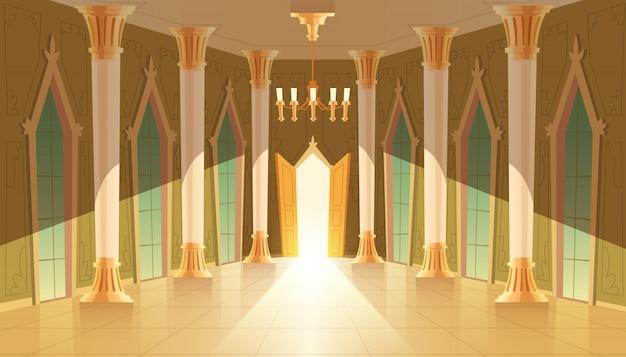 Castle hall, interior of ballroom for dancing, presentation or royal reception. Free Vector