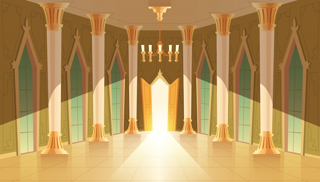 Castle hall, interior of ballroom for dancing,\ presentation or royal reception.
