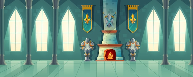 Castle Hall Interior Of Royal Ballroom With Fireplace Knight Armor