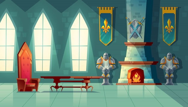 Castle hall, interior of royal ballroom with throne, table, fireplace and knight armor Free Vector