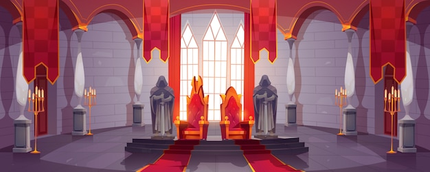 Castle hall with thrones for king and queen. ballroom interior, medieval palace for royal family with flags, guards with swords stone statues. fantasy, fairy tale, pc game cartoon vector illustration Free Vector