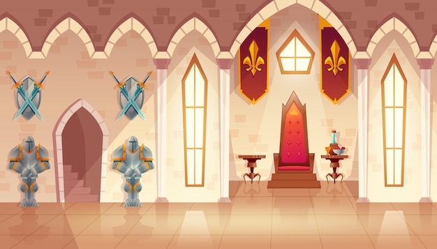 Castle hall with windows. interior of royal ballroom with throne, table and guards in knight Free Vector