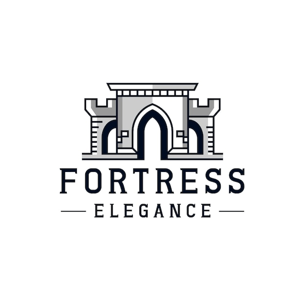 Дизайн логотипа castle line fortress Premium векторы