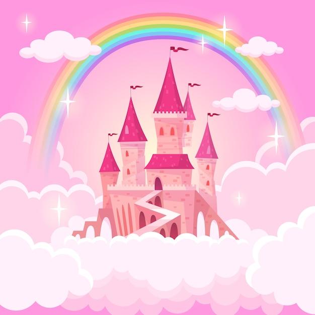 Замок принцессы. фэнтези летающий дворец в розовые волшебные облака. сказочный королевский средневековый райский дворец. мультфильм иллюстрация Premium векторы