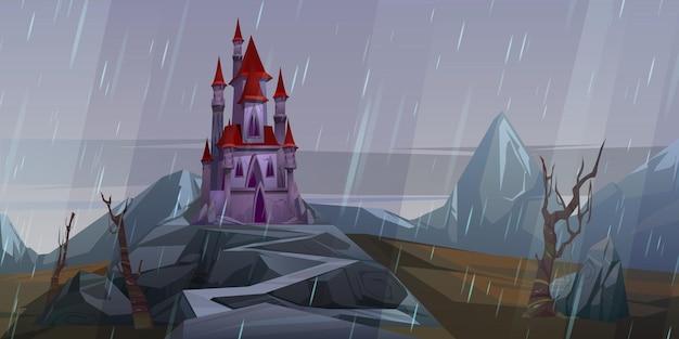 雨天時の岩の上の城 無料ベクター