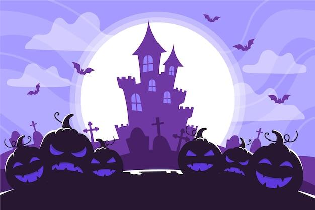 Замок силуэт и полная луна хэллоуин фон Бесплатные векторы