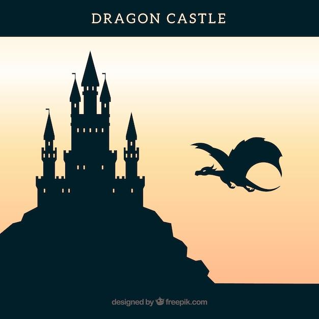 Замок силуэт фон с драконом полет Бесплатные векторы