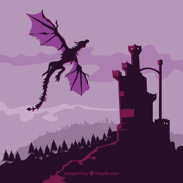 Замок силуэт фон с драконом полет Premium векторы