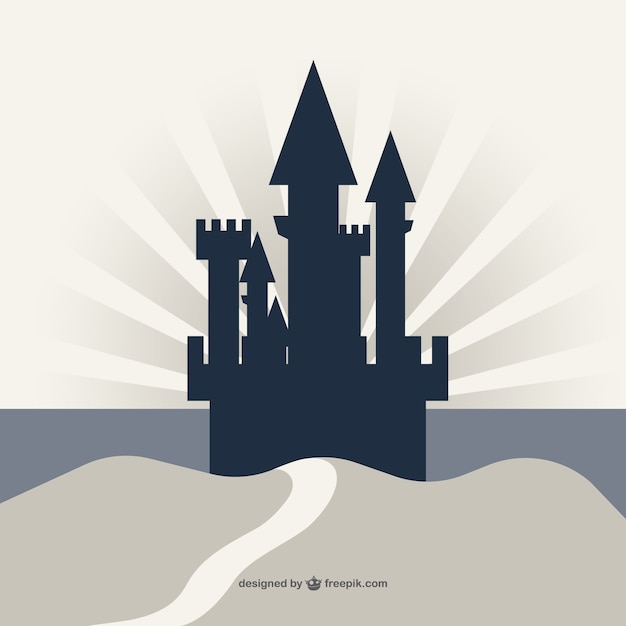 Castle silhouette on a cliff background Free Vector